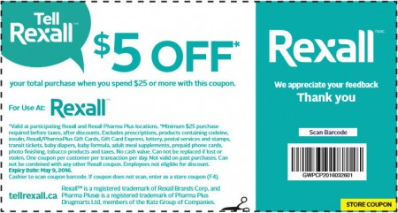 Rexall $5 Off Coupon When you Spend $25 (Until May 9)