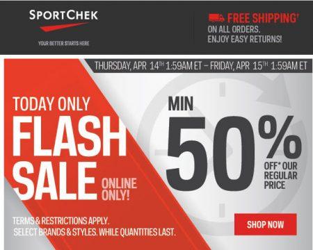 Sport Chek Flash Sale - Minimum 50 Off + Free Shipping (Apr 14)