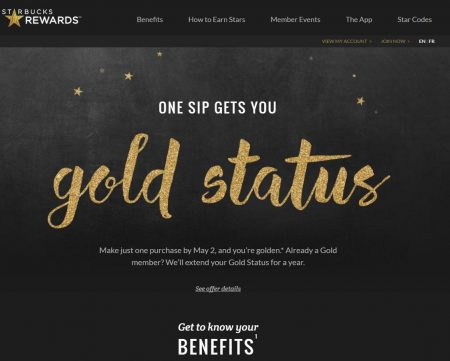 Starbucks New Starbucks Rewards - Get Gold Status with Any Purchase Before May 2