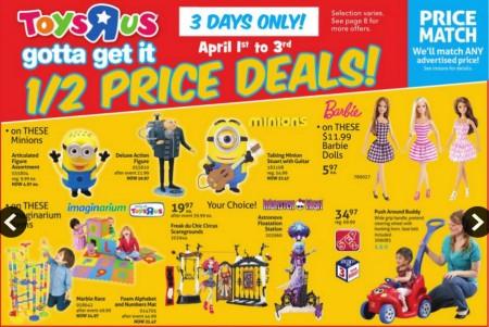 Toys R Us Half Price Deals (Apr 1-3)