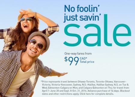 WestJet No Foolin' Just Savin' Sale (Book by Apr 5)