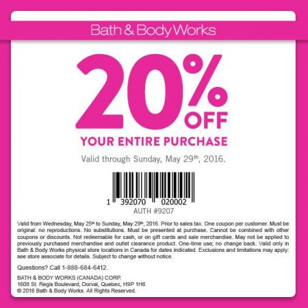 Bath & Body Works 20 Off Your Entire Purchase Coupon (Until May 29)