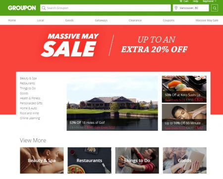 GROUPON Massive May Sale - Markdowns up to an Extra 20 Off (May 20-22)