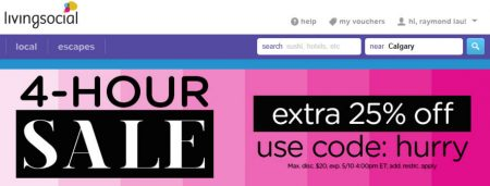 LivingSocial 4-Hour Sale - Extra 25 Off Promo Code (May 10)
