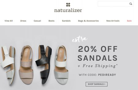 Naturalizer Extra 20 Off Sandals + Free Shipping Promo Code (May 19-25)