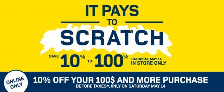 RONA Scratch and Save Event - Save 10 to 100 Off Your In-Store Purchase (May 14)