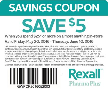 Rexall $5 Off When you Spend $25 Coupon (Until June 10)