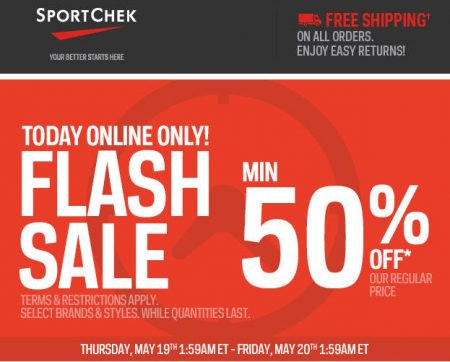 Sport Chek Flash Sale - Minimum 50 Off + Free Shipping (May 19) A