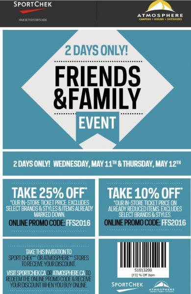 Sport Chek Friends & Family Event - 25 Off Regular Priced Items, 10 Off Sale Items (May 11-12)