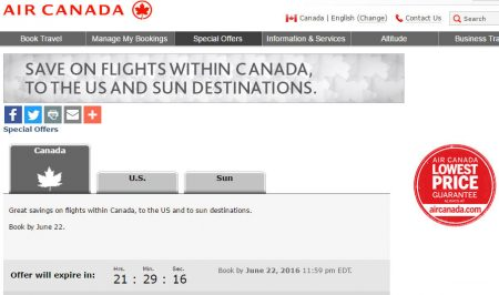 Air Canada North America and Sun Destinations Seat Sale (Book by June 22)