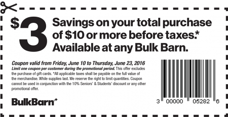 Bulk Barn $3 Off Your $10 Purchase Coupon (June 10-23)