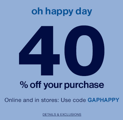 GAP Today Only - 40 Off Your Purchase Promo Code (June 25)