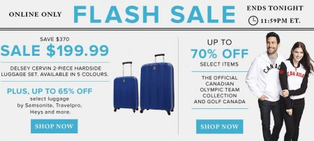 Hudson's Bay Flash Sale - Up to 65 Off Luggage, Up to 70 Off Canadian Olympic Team Apparel (June 28)
