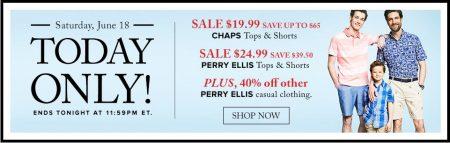 Hudson's Bay Today Only - $19.99 for CHAPS Tops & Shorts - Save up to $65 (June 18)