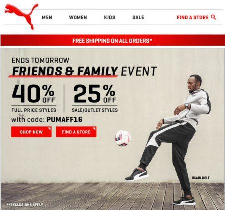 Last Chance PUMA.ca - Friends & Family Sale - 40 Off + Free Shipping Promo Code (June 9-13)
