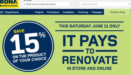 RONA 15 Off On The Product of Your Choice (June 11)