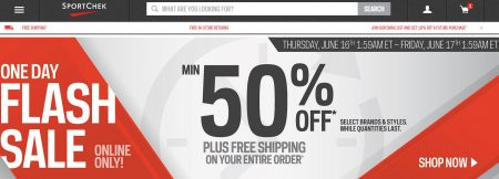 Sport Chek Flash Sale - Minimum 50 Off + Free Shipping (June 16)