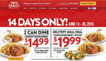 Swiss Chalet 2 Can Dine for $14.99 (June 13-26)