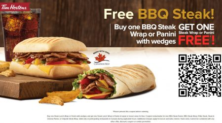 Tim Hortons Free BBQ Steak Buy One Get One Free Coupon (Until July 31)