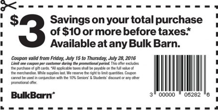 Bulk Barn $3 Off Your $10 Purchase Coupon (July 15-28)