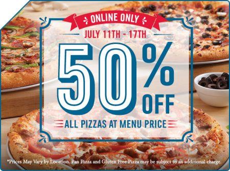 Dominos Pizza 50 Off Any Pizzas at Menu Price (July 11-17)