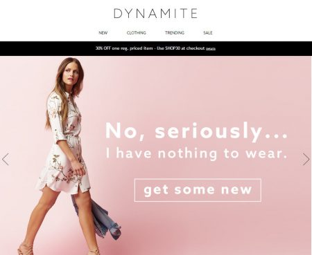 Dynamite Clothing 30 Off One Regular Priced Item Promo Code (July 23-24)