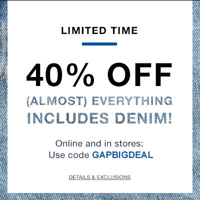 GAP 40 Off Almost Everything Promo Code (July 22-23)