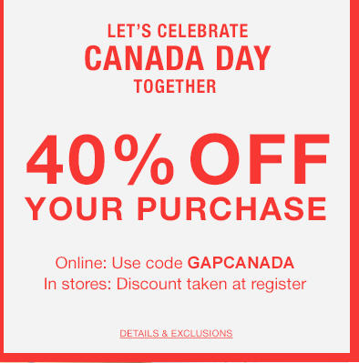 GAP Canada Day Sale - 40 Off Your Purchase Promo Code (July 1)