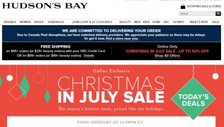 Hudson's Bay Christmas in July Sale - Hot Deal Each Day (July 11-17)