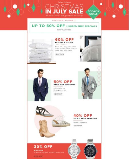 Hudson's Bay Today Only - 60 Off Pillows & Duvets, 50 Off Men's Suits, 30 Off Watches (July 13)