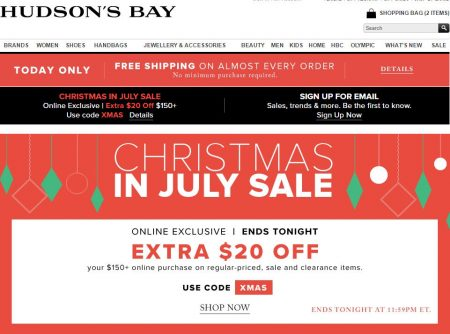 Hudson's Bay Today Only - Free Shipping All Orders + Extra $20 Off on $150 Purchase Promo Code (July 12)