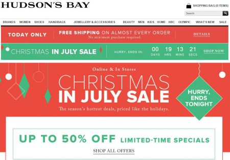 Hudson's Bay Today Only - Free Shipping on Almost Every Order (July 17)