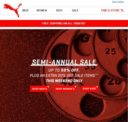 PUMA Semi-Annual Sale - Up to 50 Off + Extra 20 Off + Free Shipping All Orders (July 23-24)