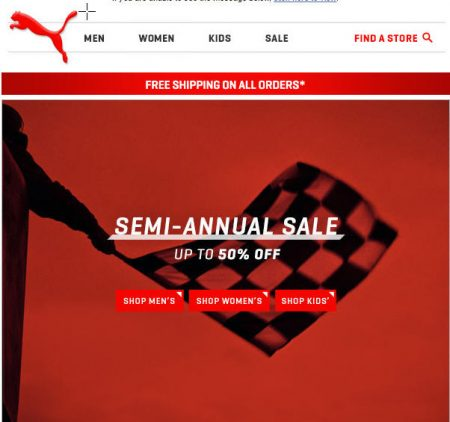 PUMA Semi-Annual Sale - Up to 50 Off + Free Shipping on All Orders