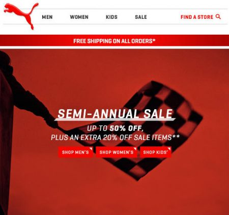 PUMA Semi-Annual Sale - Up to 50 Off + Free Shipping on All Orders (July 2-4)