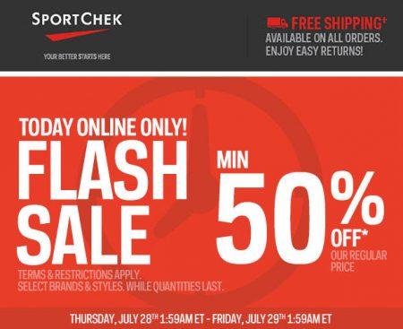 Sport Chek Flash Sale - Minimum 50 Off + Free Shipping All Orders (July 28)