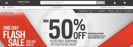 Sport Chek Flash Sale - Minimum 50 Off + Free Shipping All Orders (July 7)