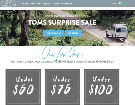 TOMS Shoes - Surprise Sale - Up to 75 Off (July 19-24)