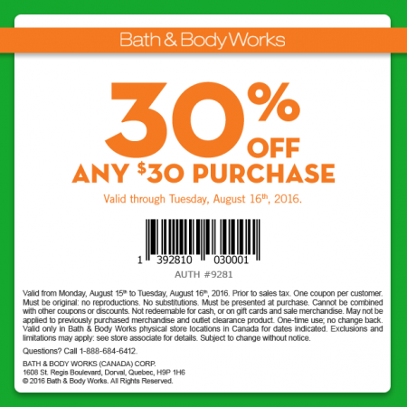 Bath & Body Works 30 Off Any $30 Purchase Coupon (Aug 15-16)