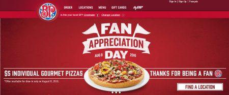 Boston Pizza Fan Appreciation Day $5 Individual Gourmet Pizzas (Aug 8)