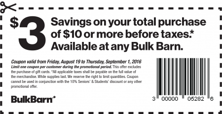 Bulk Barn $3 Off Your $10 Purchase Coupon (Aug 19 - Sept 1)