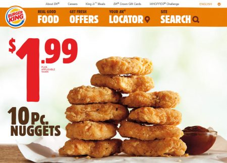 Burger King $1.99 for 10 Piece Chicken Nuggets1