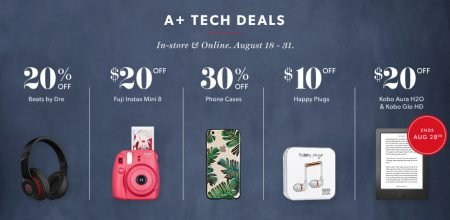 Chapters Indigo Hot Tech Deals for Back to School + Extra 15 Off with Visa Checkout (Aug 18-31)