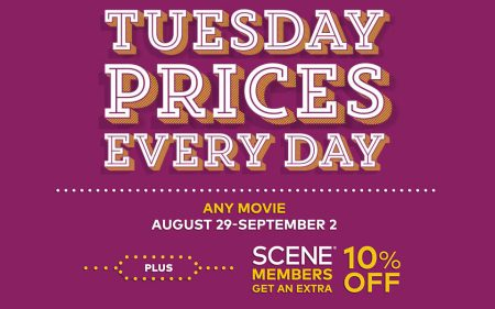 Cineplex Tuesday Prices Everyday This Week (Aug 29 - Sept 2)