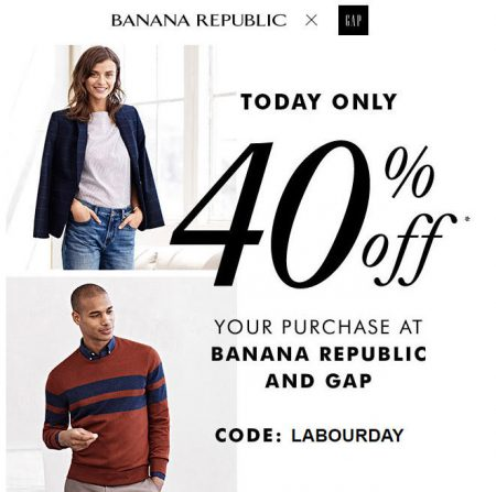 GAP & Banana Republic Today Only - 40 Off Your Purchase Promo Code (Aug 28)