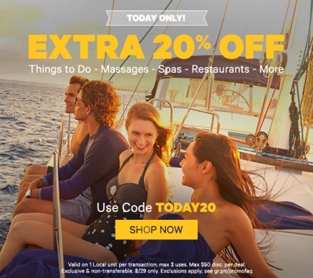 GROUPON Today Only - Extra 20 Off Local Deals Promo Code (Aug 29)