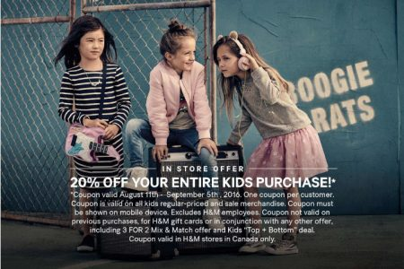 H&M Back to School - 20 Off Entire Kids Purchase Coupon (Aug 11 - Sept 5)