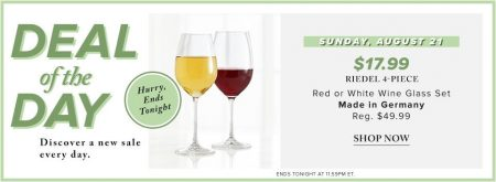 Hudson's Bay Deal of the Day - $17.99 for Riedel 4-Piece Wine Glass Set (Aug 21)