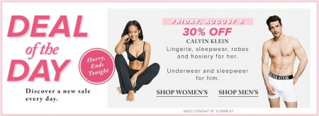 Hudson's Bay Deal of the Day - 30 Off Calvin Klein Underwear, Sleepwear, Lingerie, Robes and Hosiery (Aug 5)