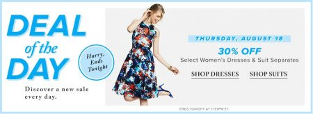 Hudson's Bay Deal of the Day - 30 Off Women's Dresses & Suit Separates (Aug 18)